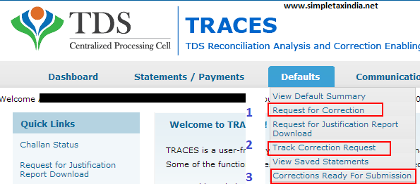 Online Correction In E Tds Returns At Tdscpc Without Digital