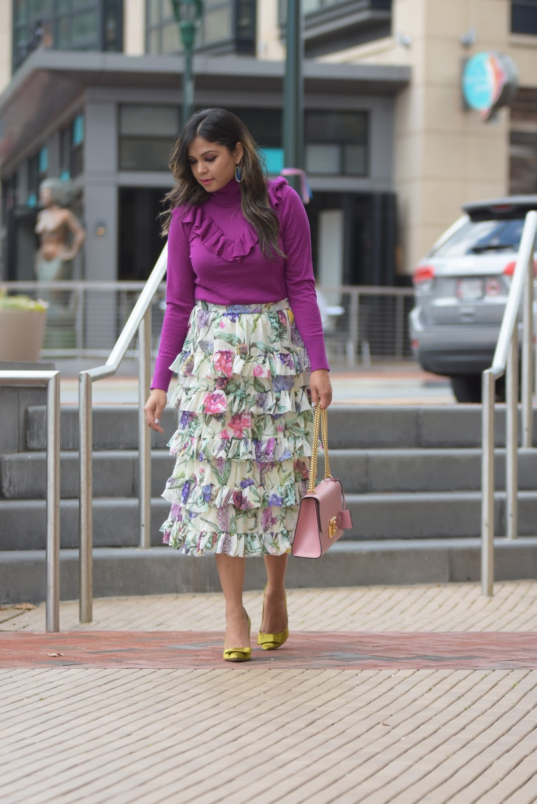 how to wwesr ruffles if you have bigger busts, ruffles in winter, j crew pink ruffle sweater, ruffled skirt , floral skirt, green satin pumps, fall fashion , myriad musings