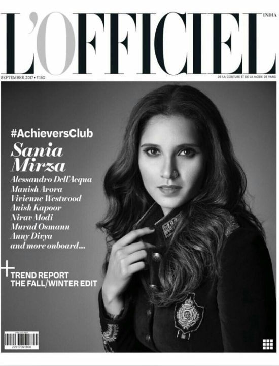 Sania Mirza On The Cover of L-Officiel Magazine India September 2017