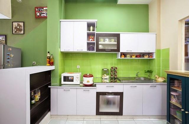 keramik dapur warna hijau