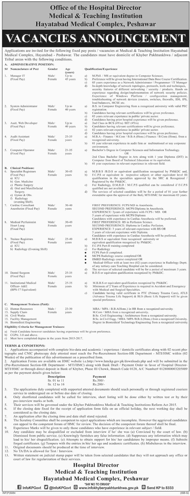 Jobs In Hayatabad Medical Complex  Sep 2017