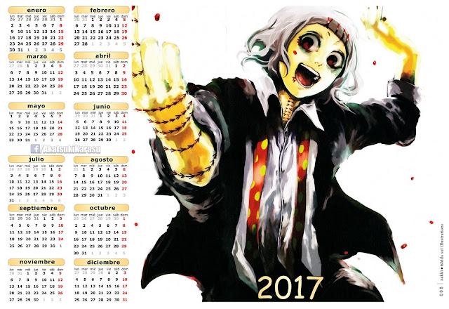 anime tokyo ghoul 2017: Animé Imágenes By Akatsuki Karasu: Calendarios 2017 Tokyo