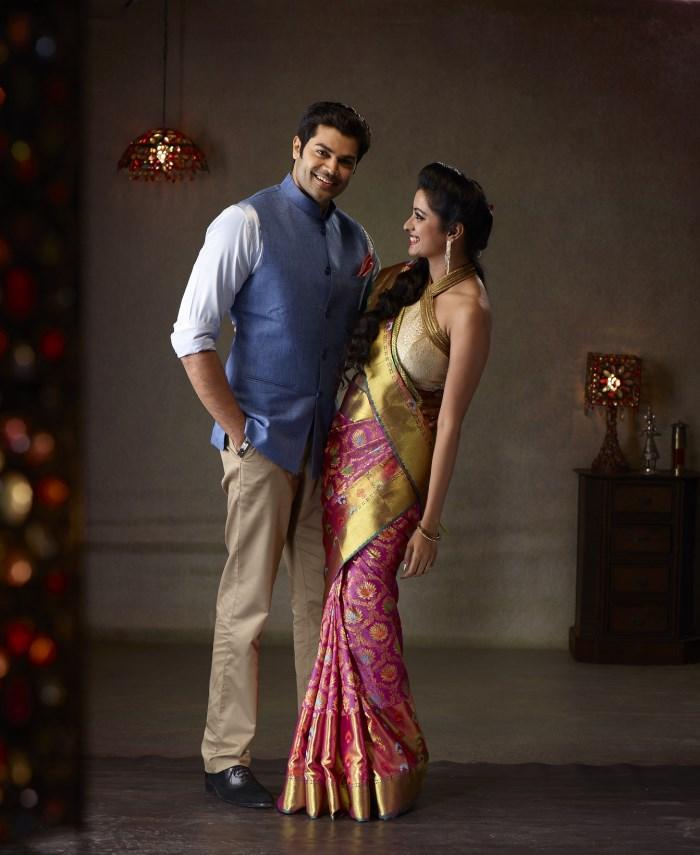 Ganesh Venkatraman Nisha Krishnan Photo Shoot For Pachaiyappa Silks