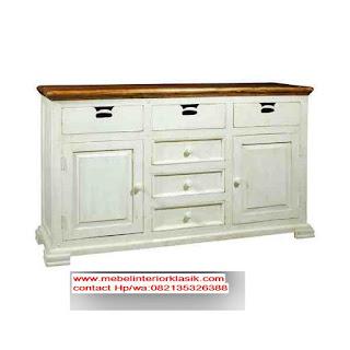 bufet jati,bufet ukir,bufet duco putih,furniture klasik mewah,toko jati,mebel interior klasik