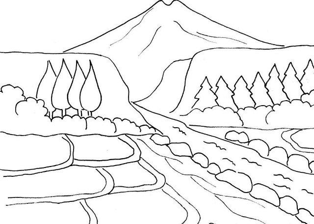 Sketsa Gambar Pemandangan Alam