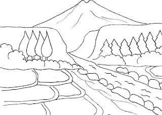 Sketsa Mewarnai Gambar Pemandangan Alam Pegunungan 20165