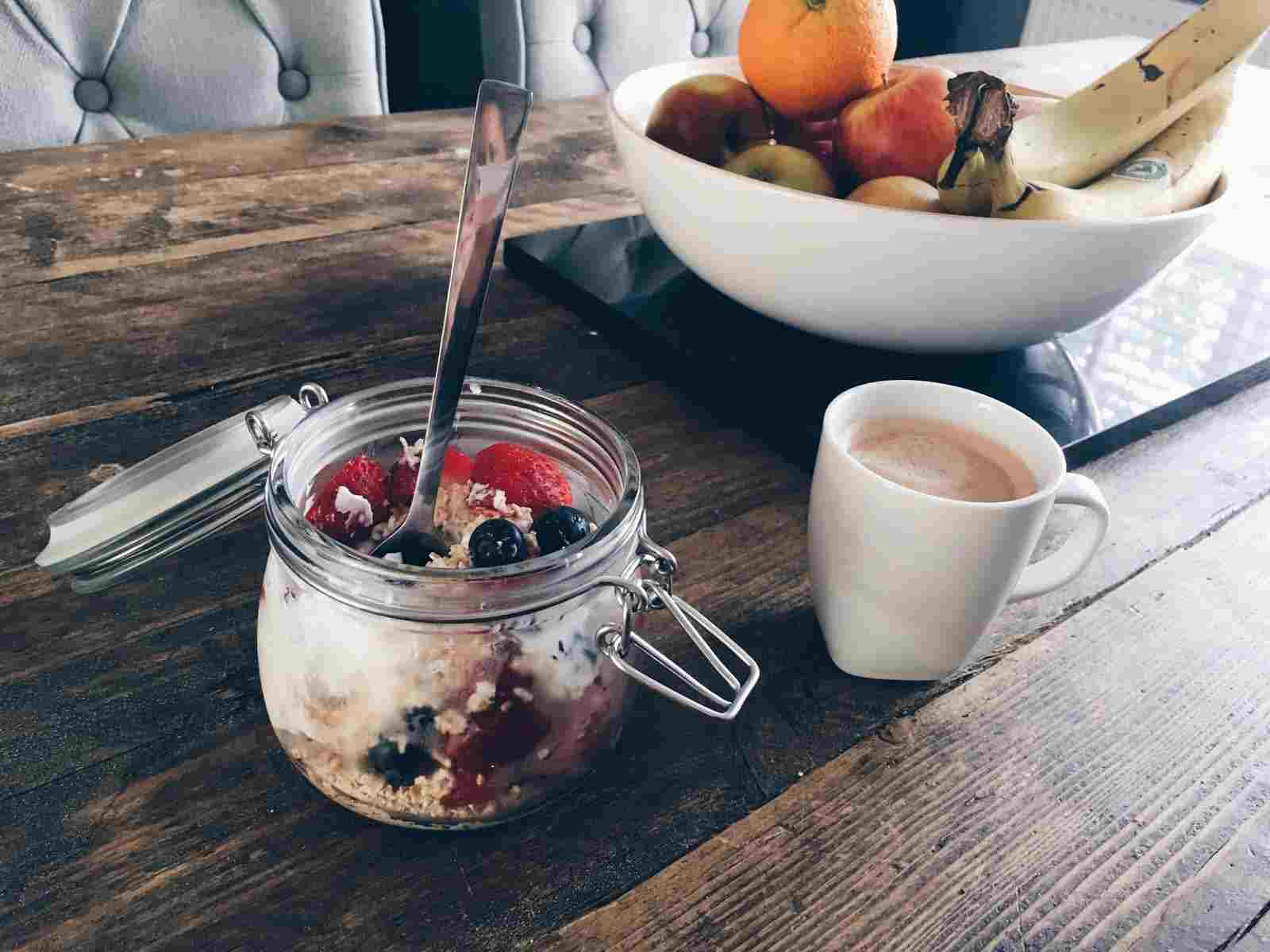 overnight oats and fruit for breakfast