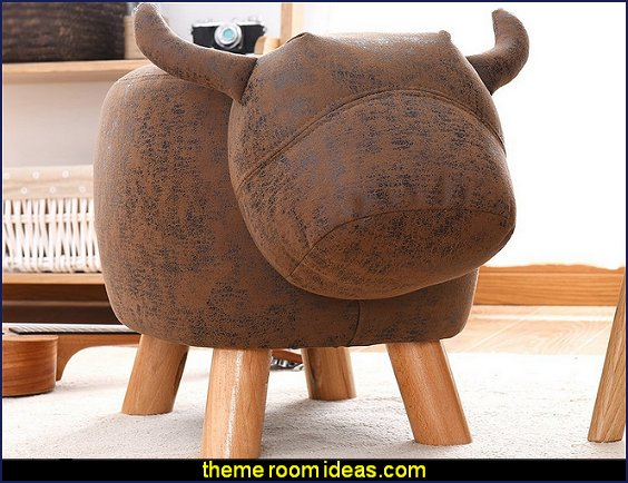 Ottoman Stool  Buffalo Bull Figure
