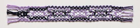 Purple Blue and White Cotton Bobbin Lace Bookmark