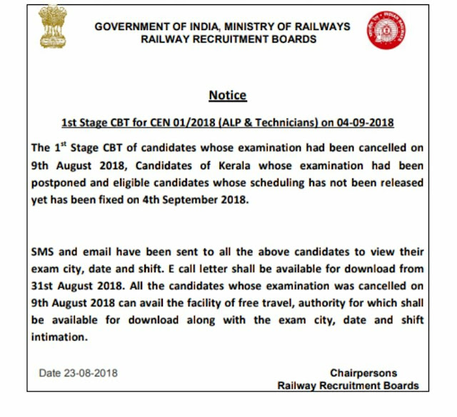 RRB Railway ALP 2018 Exam: Important Notice | RRB Thiruvananthapuram