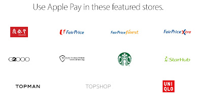Source: Apple website. Din Tai Fung, NTUC's FairPrice supermarkets, G2000 and Starbucks are some of the brands which will accept Apple Pay in Singapore.