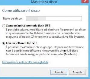 Crea disco dati