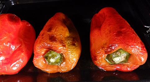 Pimientos asados en el horno