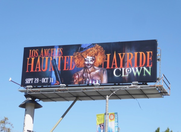 Los Angeles Haunted Hayride Clown 2017 billboard