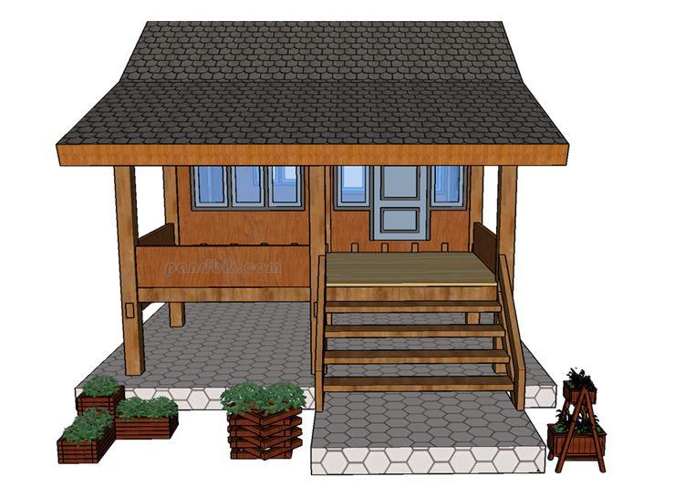 Gambar rumah pondok kayu tampak depan