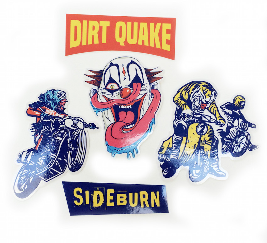 We have some dirt quake usa sticker packs designed by the most excellent toria jaymes of stay outside studio 5 vinyl stickers in a custom made package