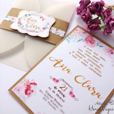 convite artesanal personalizado aniversário infantil 15 anos casamento moderno rústico papel kraft envelope vegetal estampado floral aquarelado boho chic festa delicada diferente sofisticado papelaria personalizada luxo scrapfesta