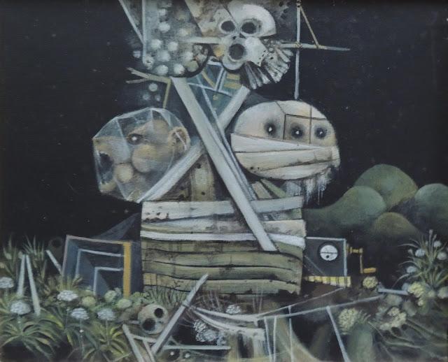Eduard Alcoy pintura acrílica lienzo surrealista cosmonautas