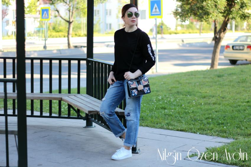 alışveriş-beyaz spor ayakkabı-kelebek çanta-moda blogu