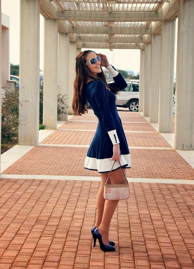 navy and white mini dress with long sleeves, navy patent pumps