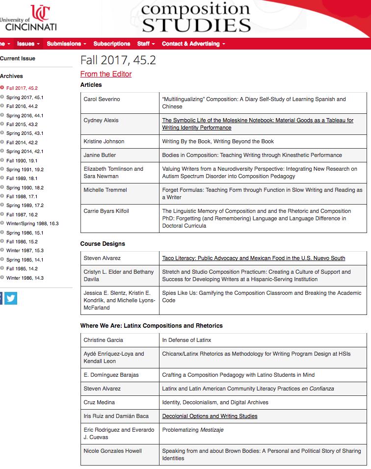 academia de cruz medina fall 2017 issue of composition studies