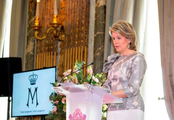 Queen Mathilde wore NATAN top from Natan Couture 2019 collection with graphics. Managed by the King Baudouin Foundation