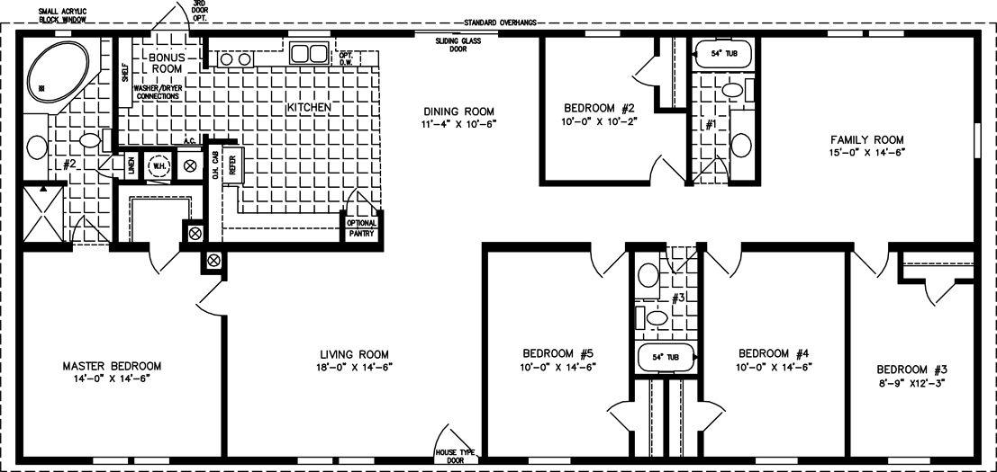 Denah Rumah Minimalis Sederhana 1 Lantai 5 Kamar Tidur