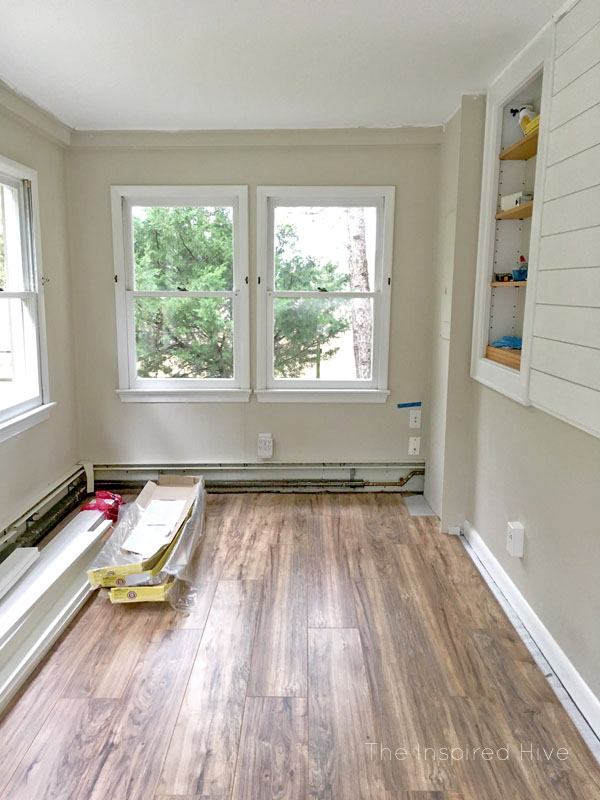 Lakeshore Pecan affordable laminate flooring in a vintage modern schoolhouse playroom.
