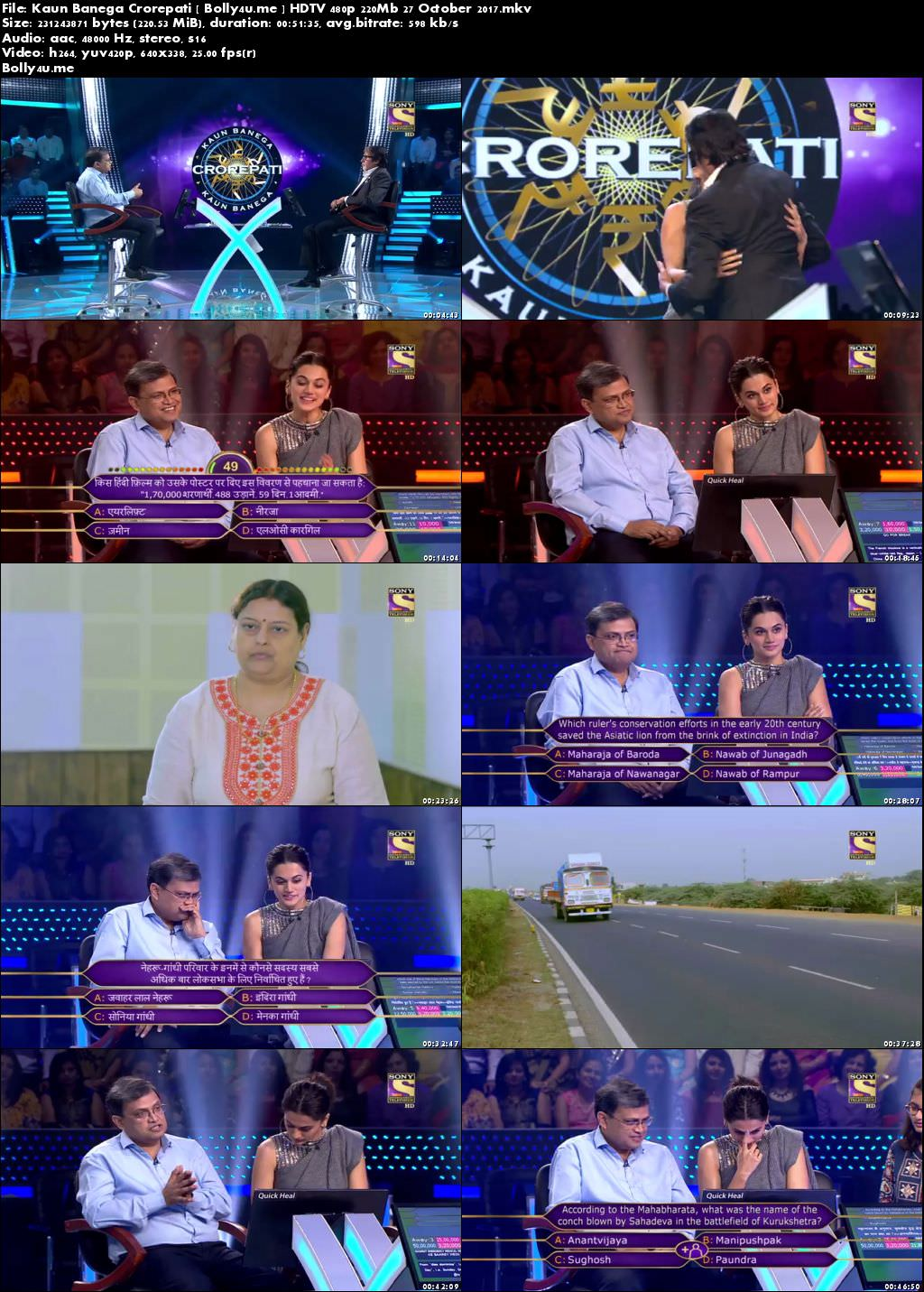 Kaun Banega Crorepati HDTV 480p 200Mb 27 October 2017 Download
