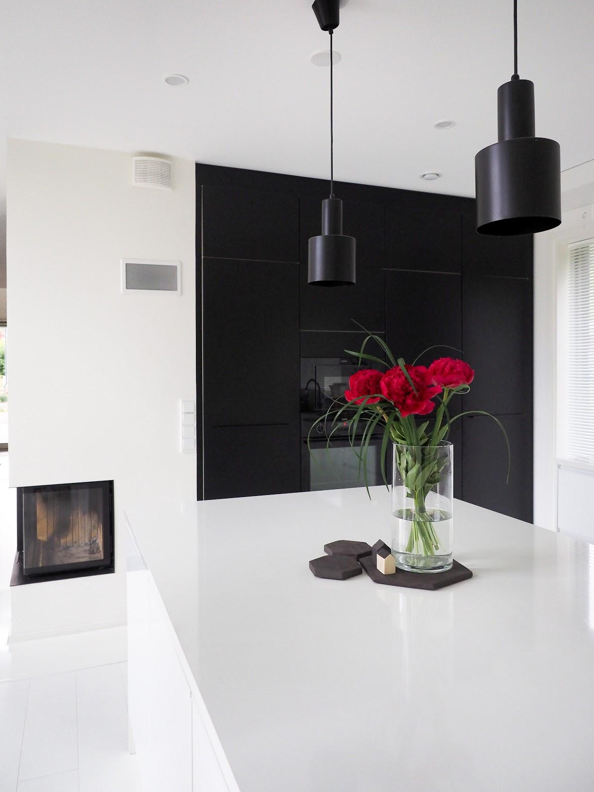 keittiö, moderni, mustavalkoinen