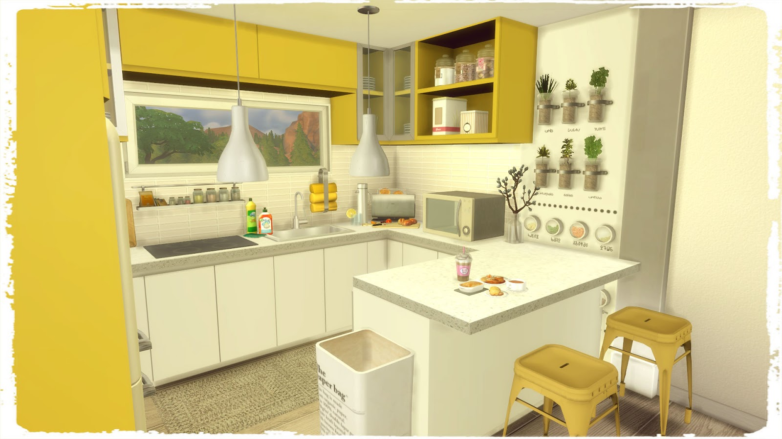 Sims 4 blue yellow kitchen with livingroom dinha for Blue yellow kitchen