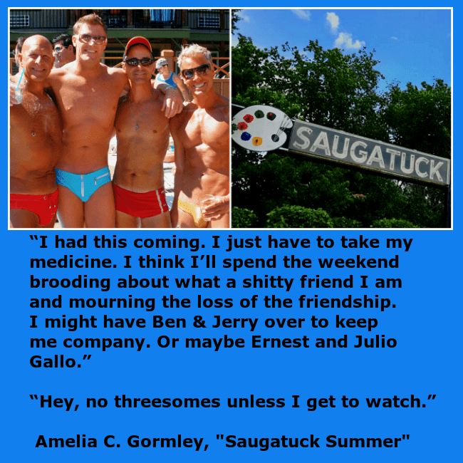 Gay men posing for a photo in their bathing suits in Saugatuck, Michigan.