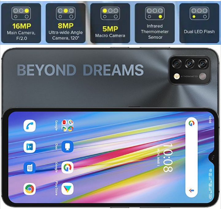UMIDIGI A11 Beyond Dreams Phone - Specs: Android 11, 5150mAh, 8Core, 128GB/4GB, 6.53Inch, 4Cams, AI Face Unlock, Fingerprint Scanner..