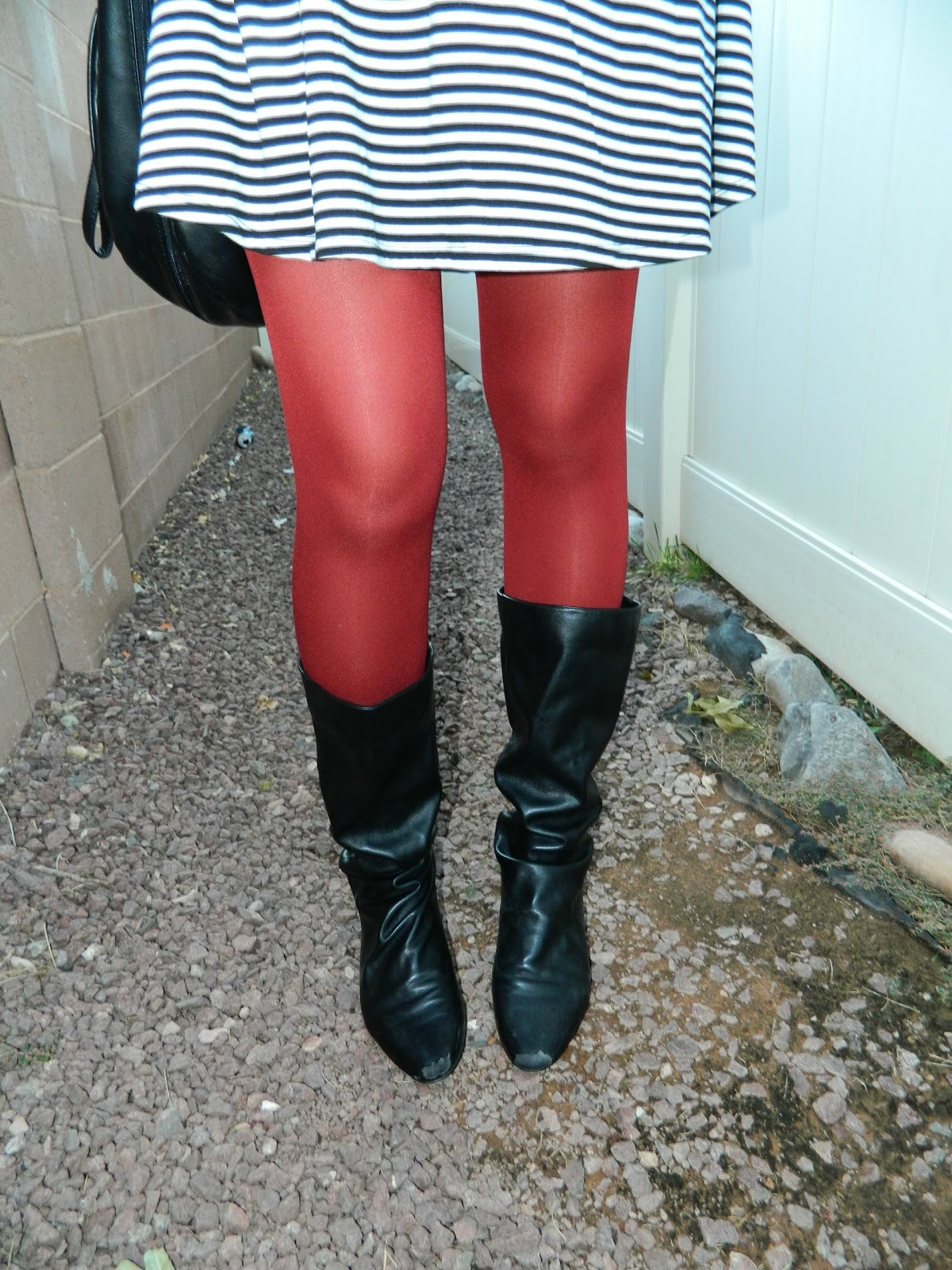 red tights, black boots