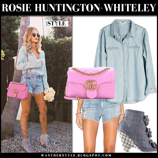 Rosie Huntington-Whiteley in denim shirt paige bellamy, denim shorts paige keira with pink leather Gucci Marmont bag what she wore
