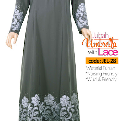 Jubah Umbrella Lace JEL-28 Grey Depan 9