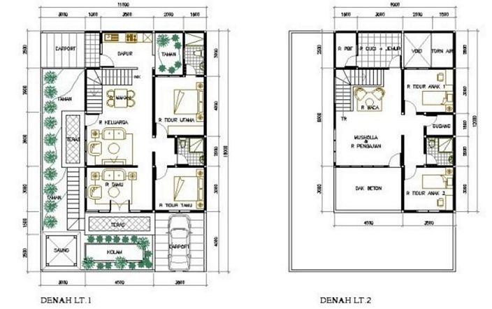 denah rumah minimalis 2 kamar tidur yang bagus