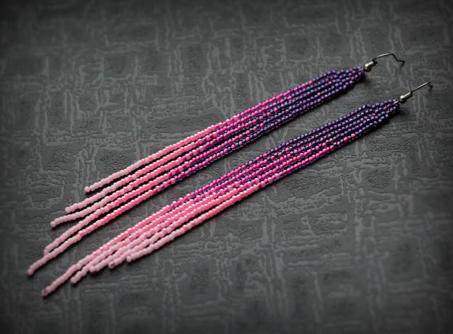 купить сиреневые розовые серьги из бисера с бахромой серьги до плеч