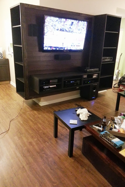BESTA Entertainment Center with bamboo backing  IKEA Hackers