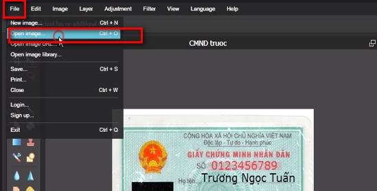 Hướng dẫn FAKE CMND Bằng photoshop online