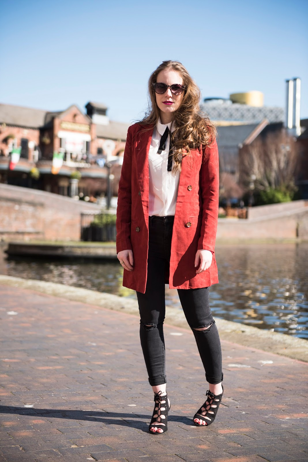red suede coat missguided