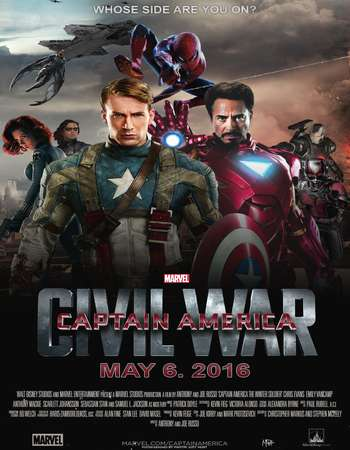 Poster Of Captain America: Civil War 2016 ORG Dual Audio 180MB BRRip HEVC Mobile ESubs Free Download Watch Online downloadhub.net