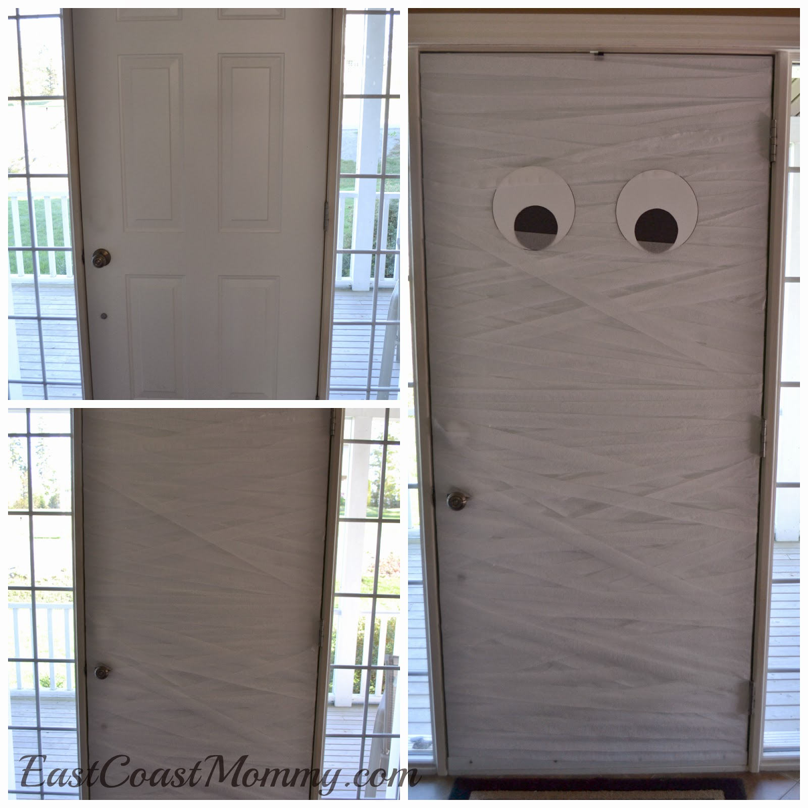 Finish the door by adding eyes made from white and black card stock. Make sure to put a little of the eyes under the streamers to add depth. & East Coast Mommy: Mummy Door