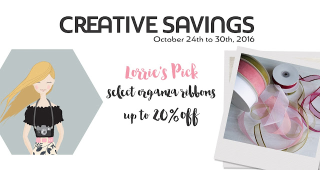 limited time - save 20% off select organza ribbons at creativebag.com