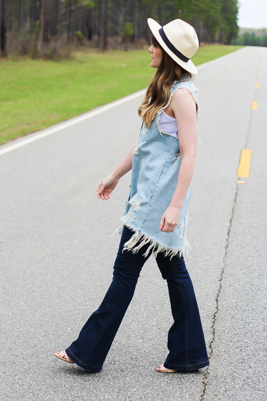 Denim dress over flares