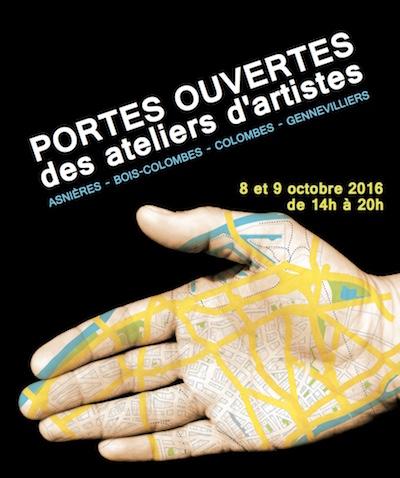 affiche avec main portes ouvertes ateliers artistes asnieres colombes gennevilliers