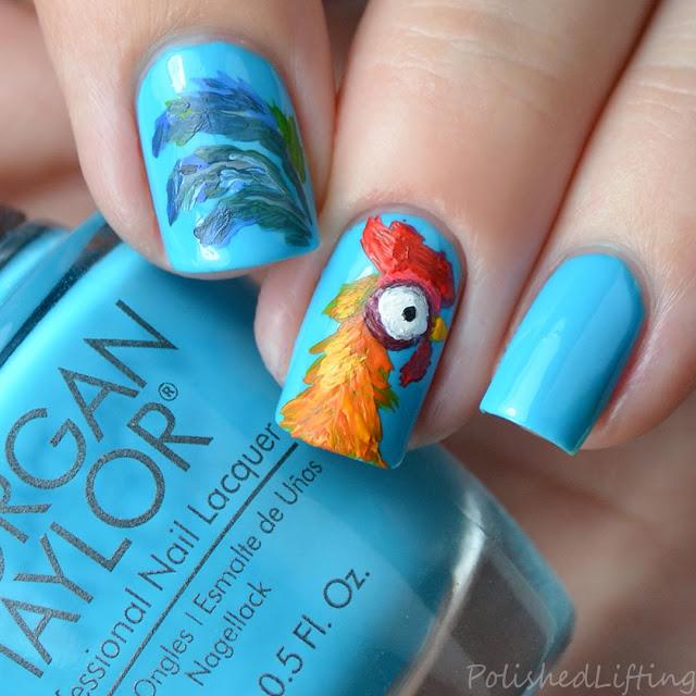 Moana Heihei inspired nail art