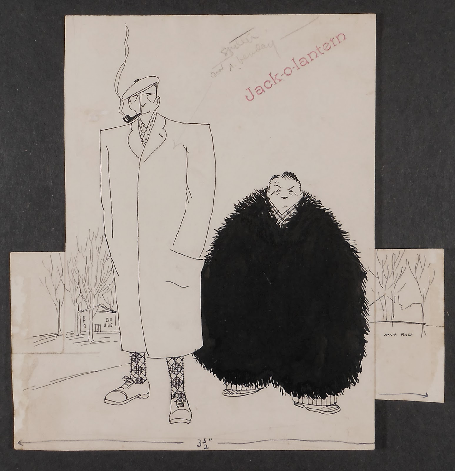 A cartoon of a tall man in a coat and a short man in a dark fur.