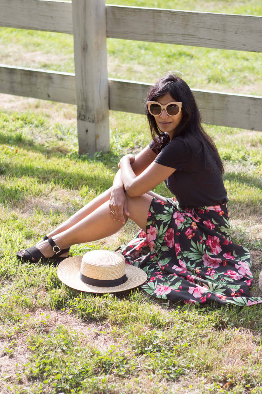 romantic, summer style, casual outfit, dressy, floral, sweeping, dramatic, feminine, petite fashion, lookbook, colorful, leafy print, easy style, affordable fashion, trendy, wrap skirt, platform, straw tote, boater hat, forever 21