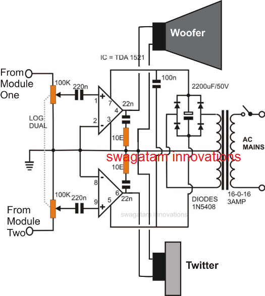 tweeter, woofer twin amplifier circuit for home theater applications